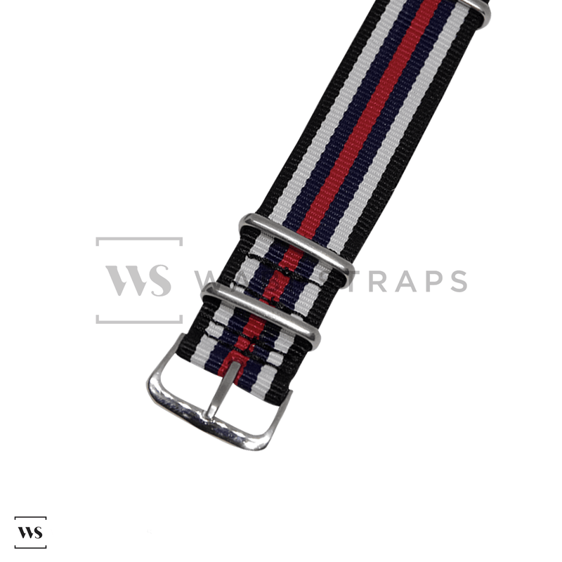 Black, White, Navy & Red Racing NATO Strap Round