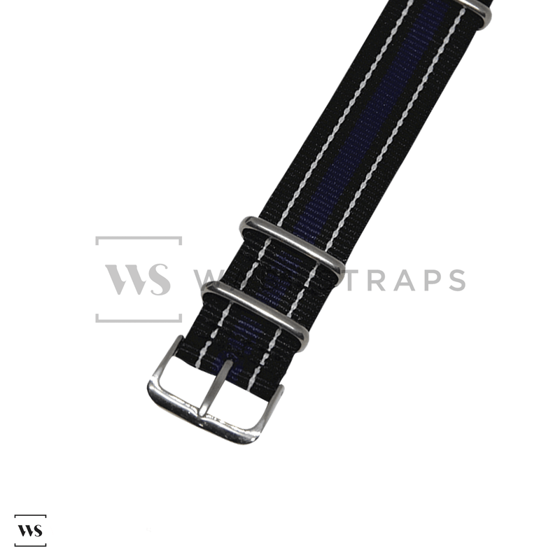 Black, White & Purple Vintage NATO Strap Round