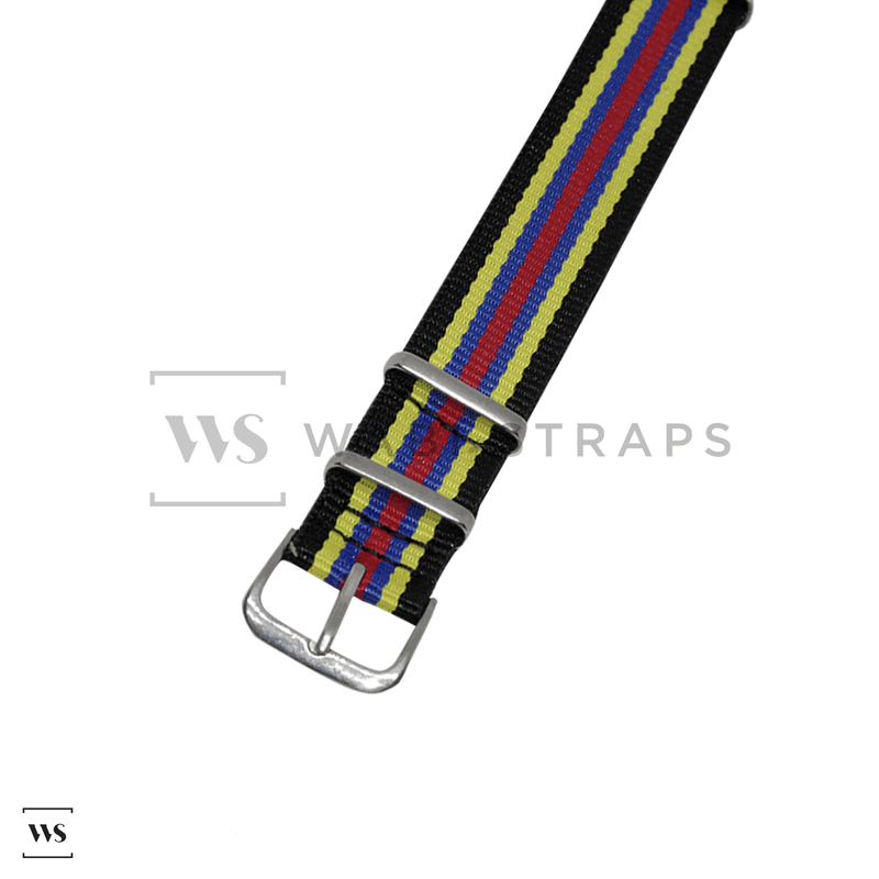 Black, Yellow, Navy & Red Racing NATO Strap Round