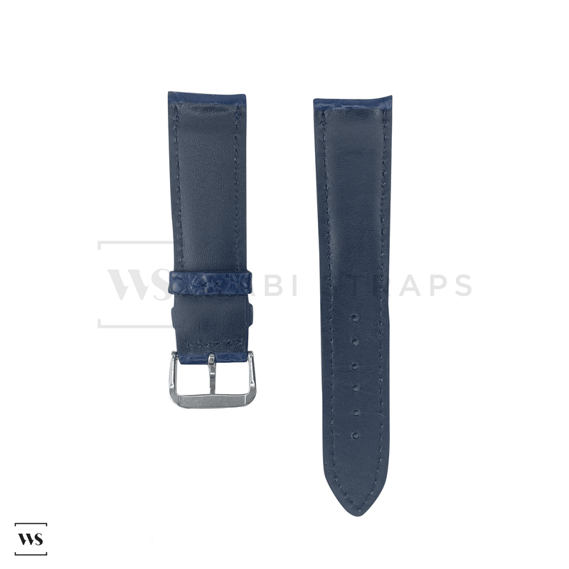 Blue Alligator Exotic Leather Strap Front