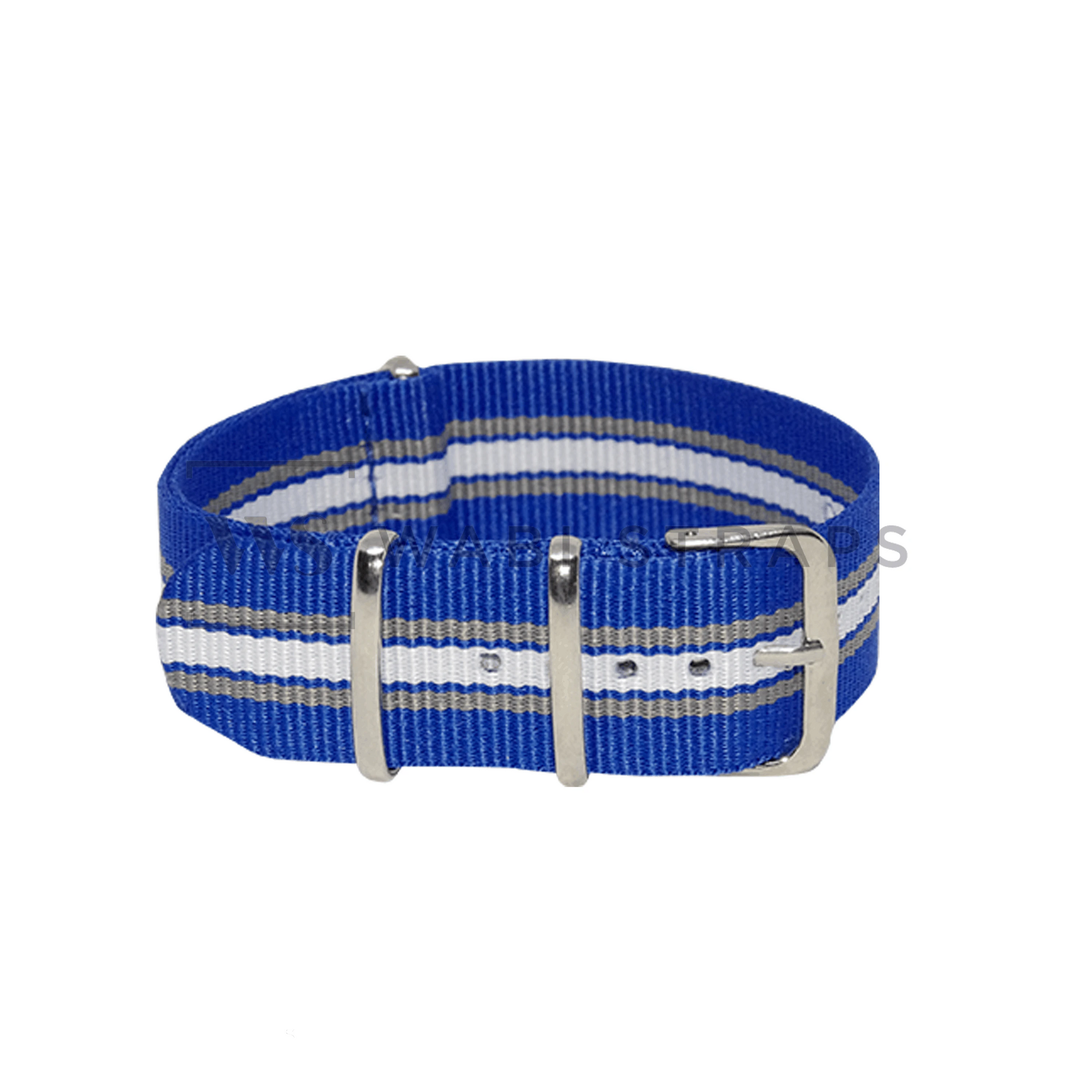 Blue, Grey & White Regimental NATO Strap Round