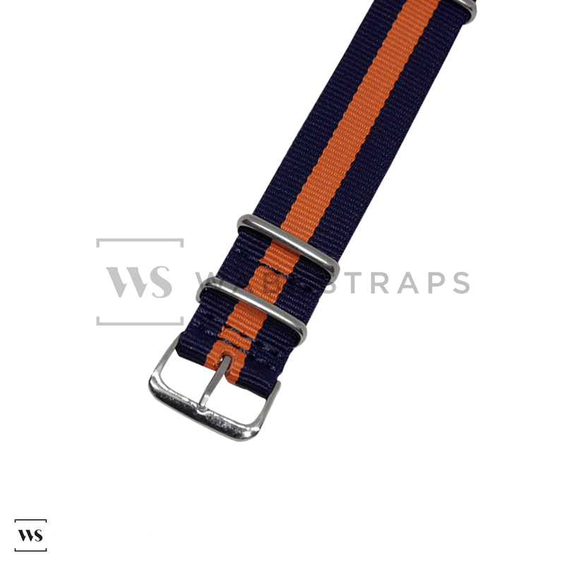 Blue & Orange Classic NATO Strap Round
