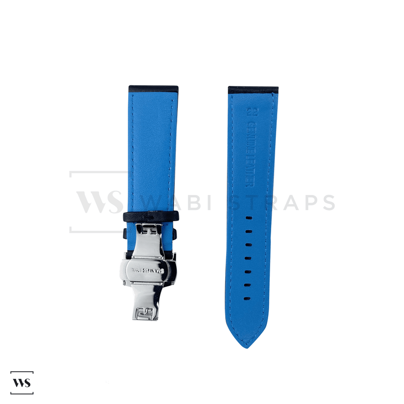 Blue Perforated Rally Watch Strap SS Front
