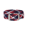 Blue, Red & White Braided Perlon Strap Round