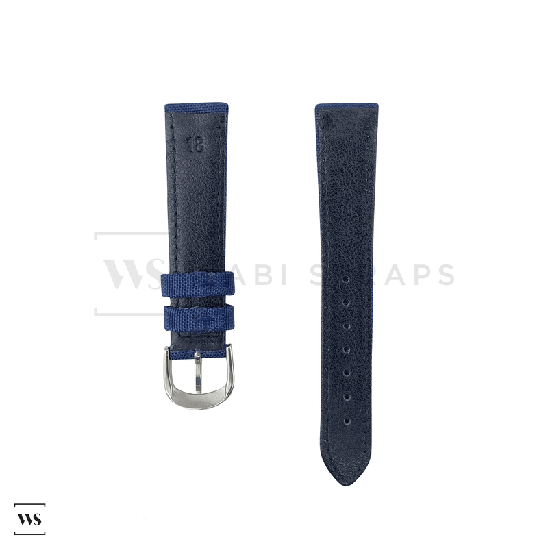 Blue Sailcloth Leather Watch Strap Front