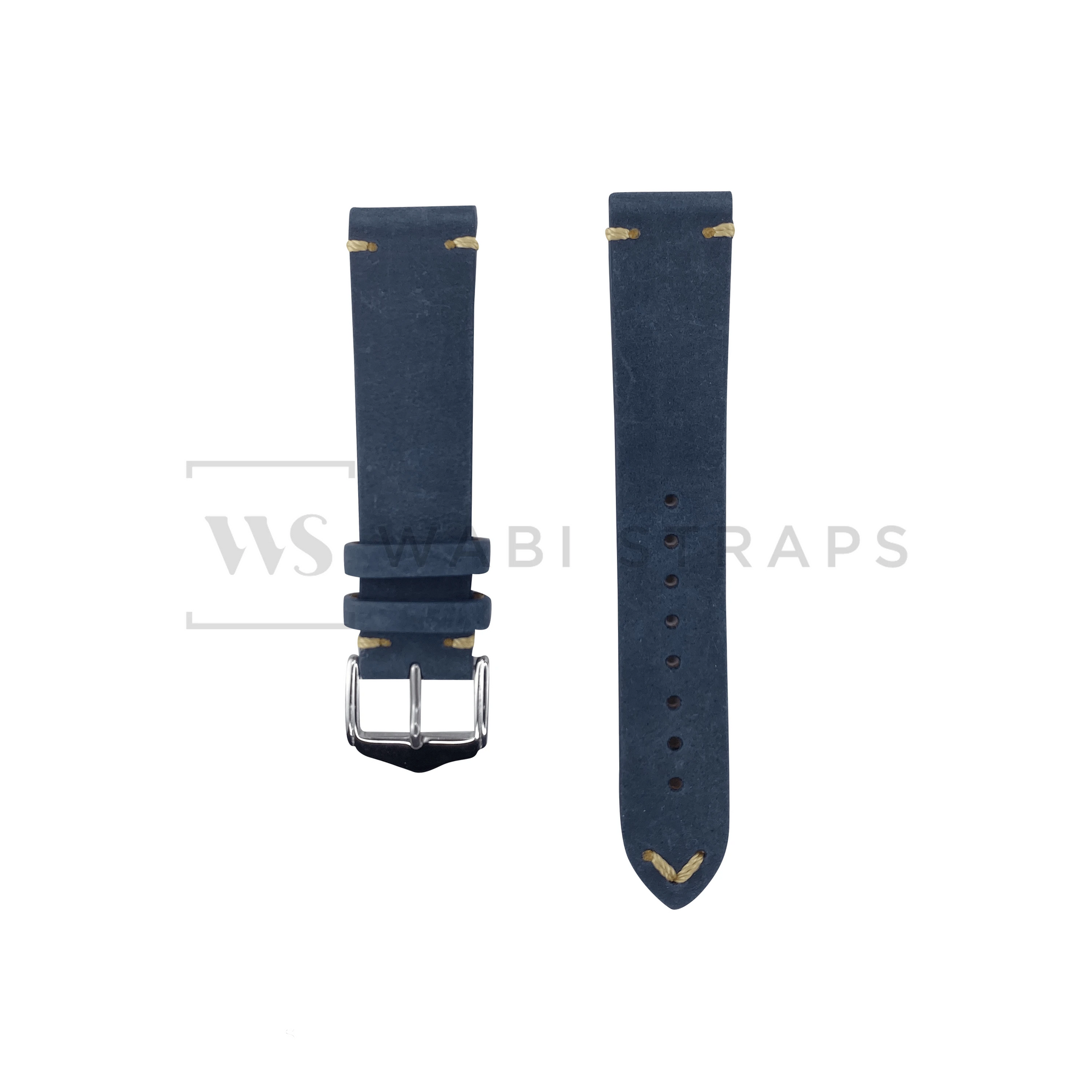 Blue Vintage Leather Watch Strap Front