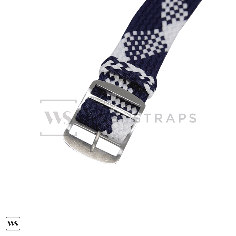 Blue & White Braided Perlon Strap Round