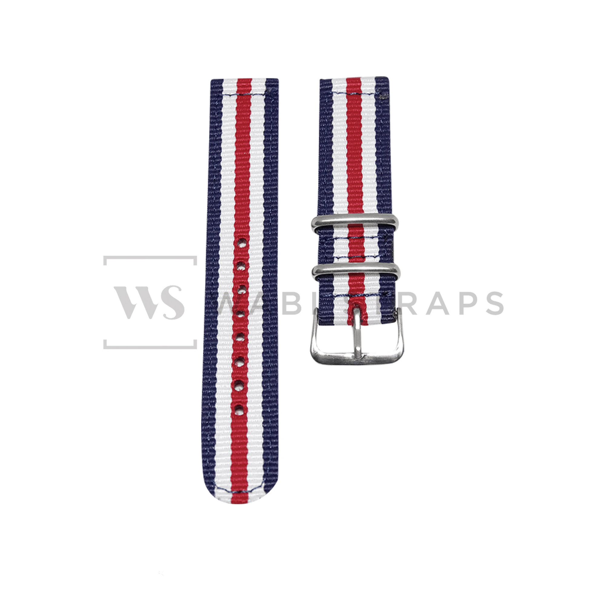 Blue, White & Red Two Piece NATO Strap Front