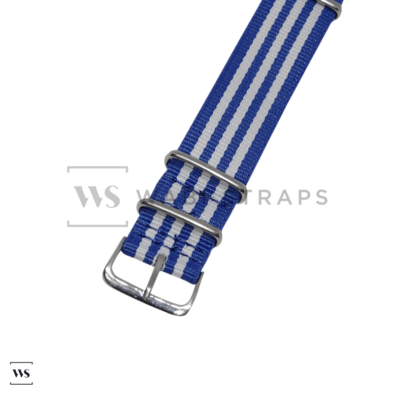 Blue & White Striped Racing NATO Strap Round