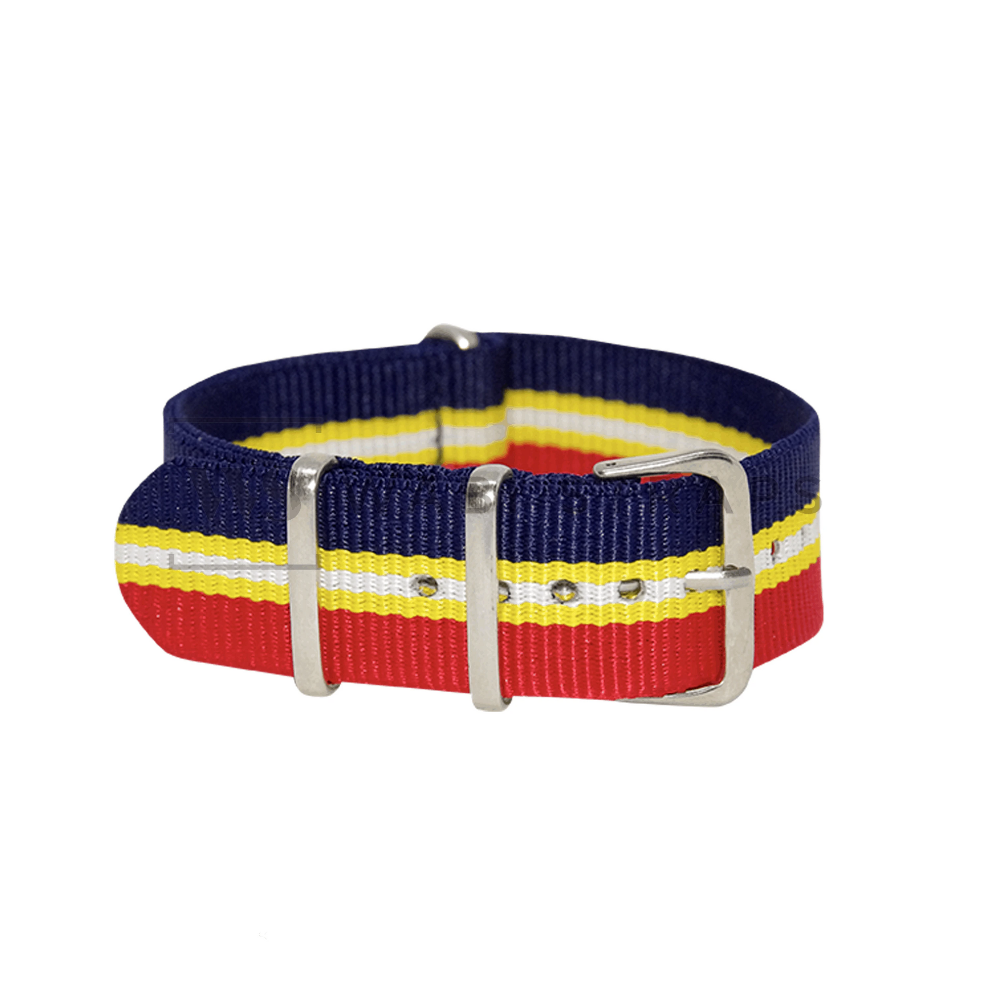 Blue, Yellow, White & Red Regimental NATO Strap
