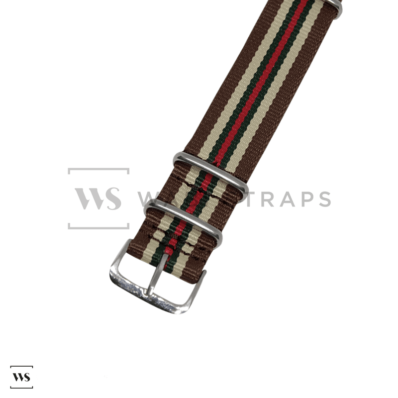 Brown, Cream, Green & Red Racing NATO Strap Round