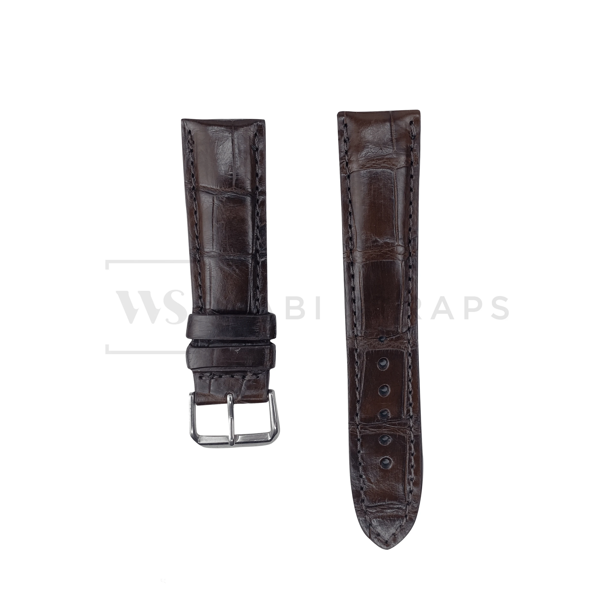 Brown Crocodile Artisan Leather Strap Front