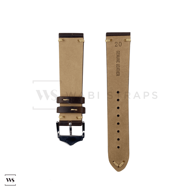 Brown Distressed Leather Watch Strap Front