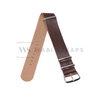 Brown Faux PU Leather NATO Strap Folded