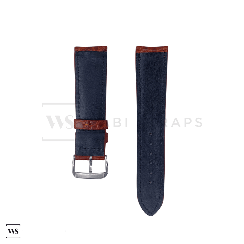 Brown Hornback Alligator Leather Strap Front