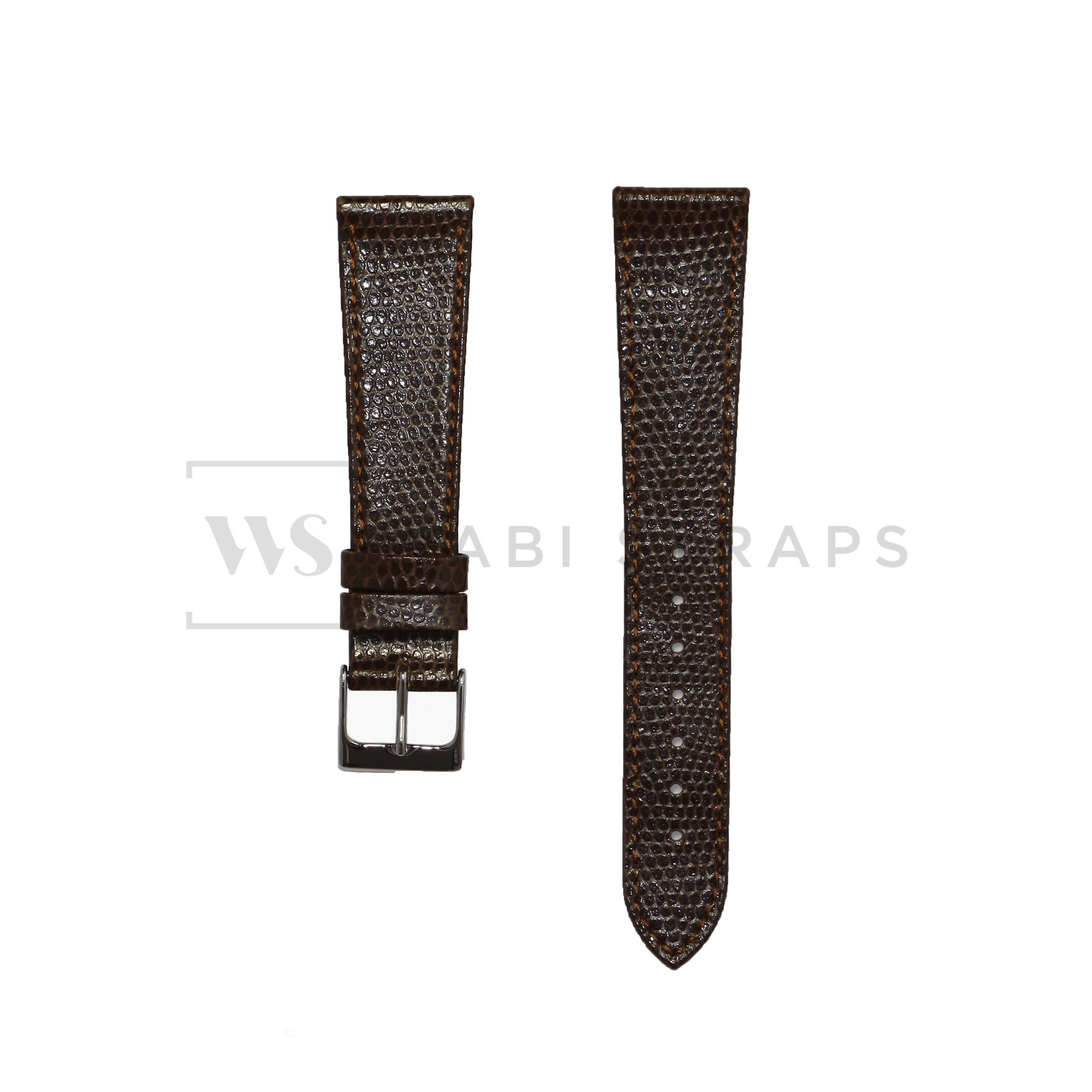 Brown Lizard Leather Watch Strap Front