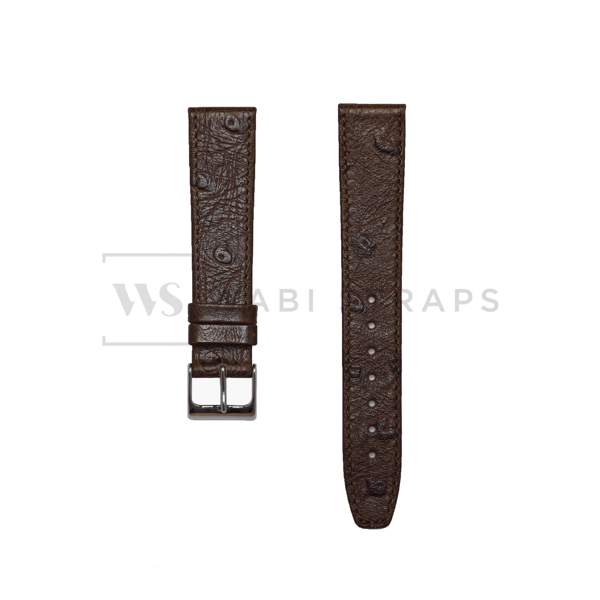 Brown Ostrich Grain Watch Strap