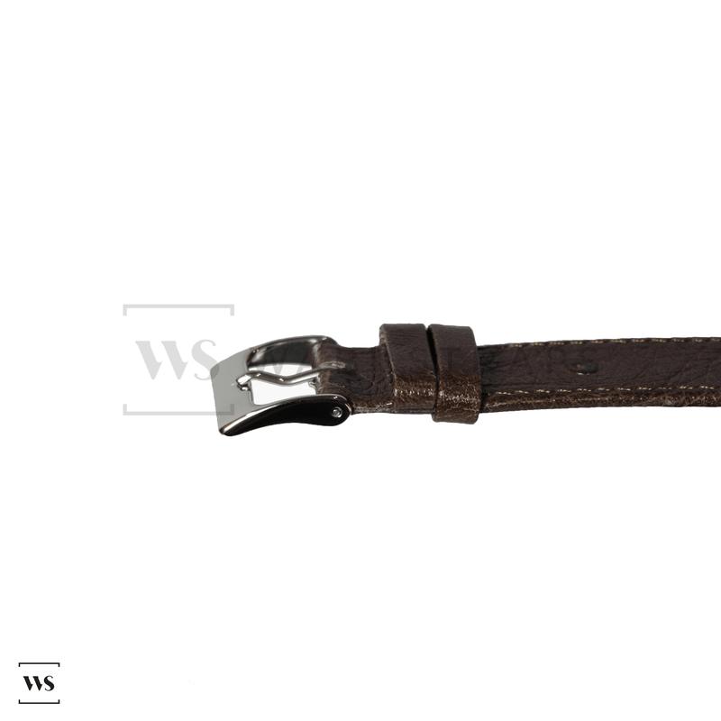 Brown Ostrich Grain Watch Strap Front