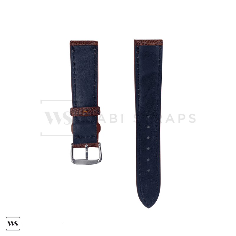 Brown Ostrich Handcrafted Leather Strap Front