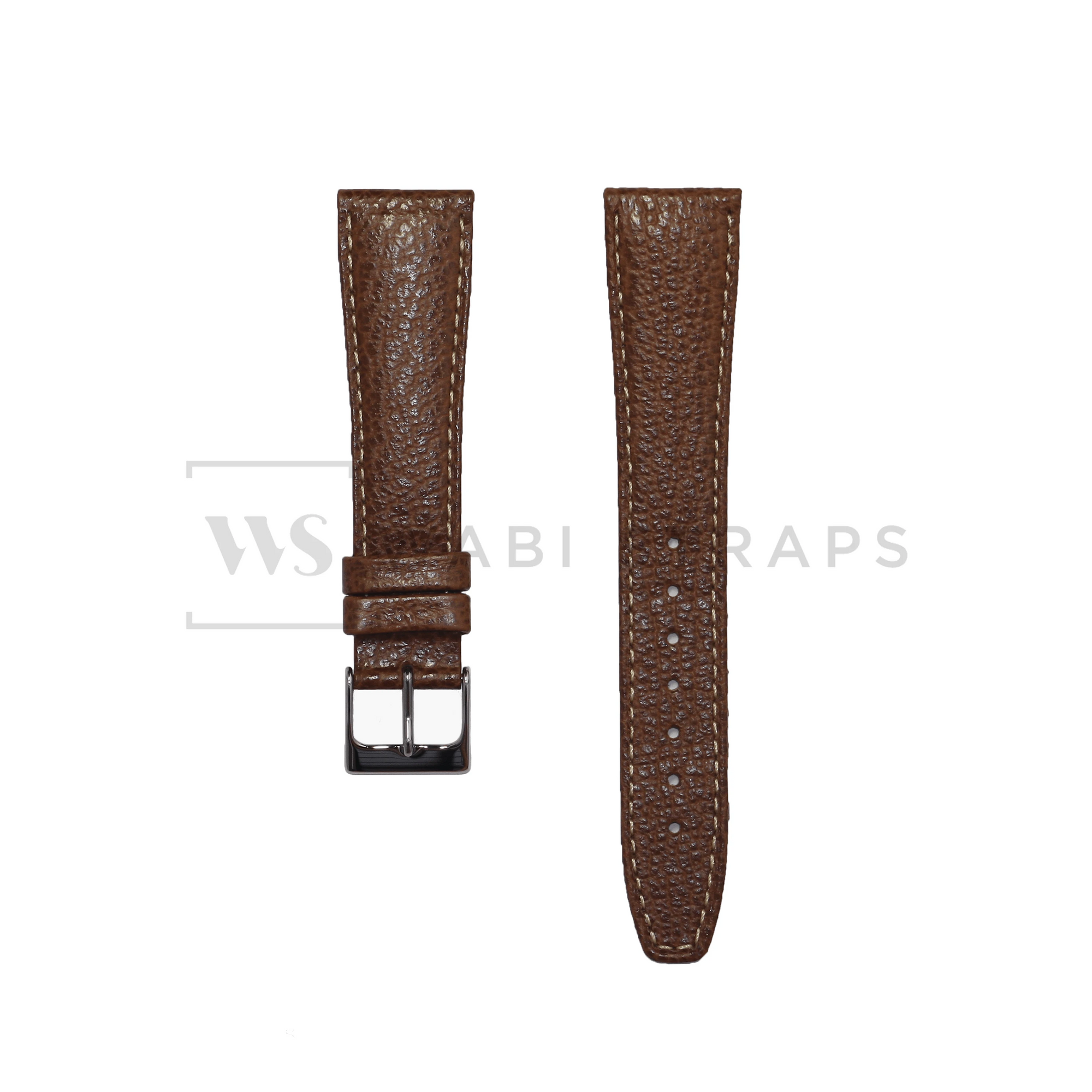 Brown Pebbled Leather Watch Strap