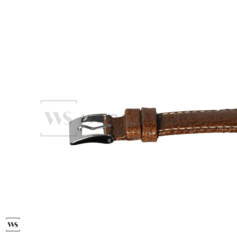 Brown Pebbled Leather Watch Strap Front