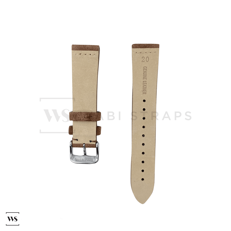 Brown Suede Watch Strap Front