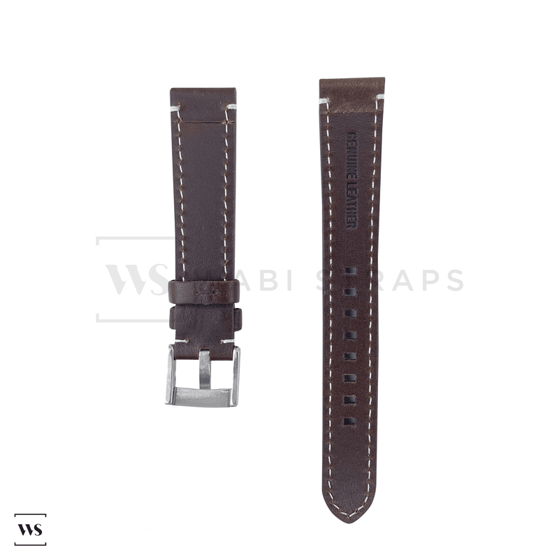 Brown Thick Leather Watch Strap Front