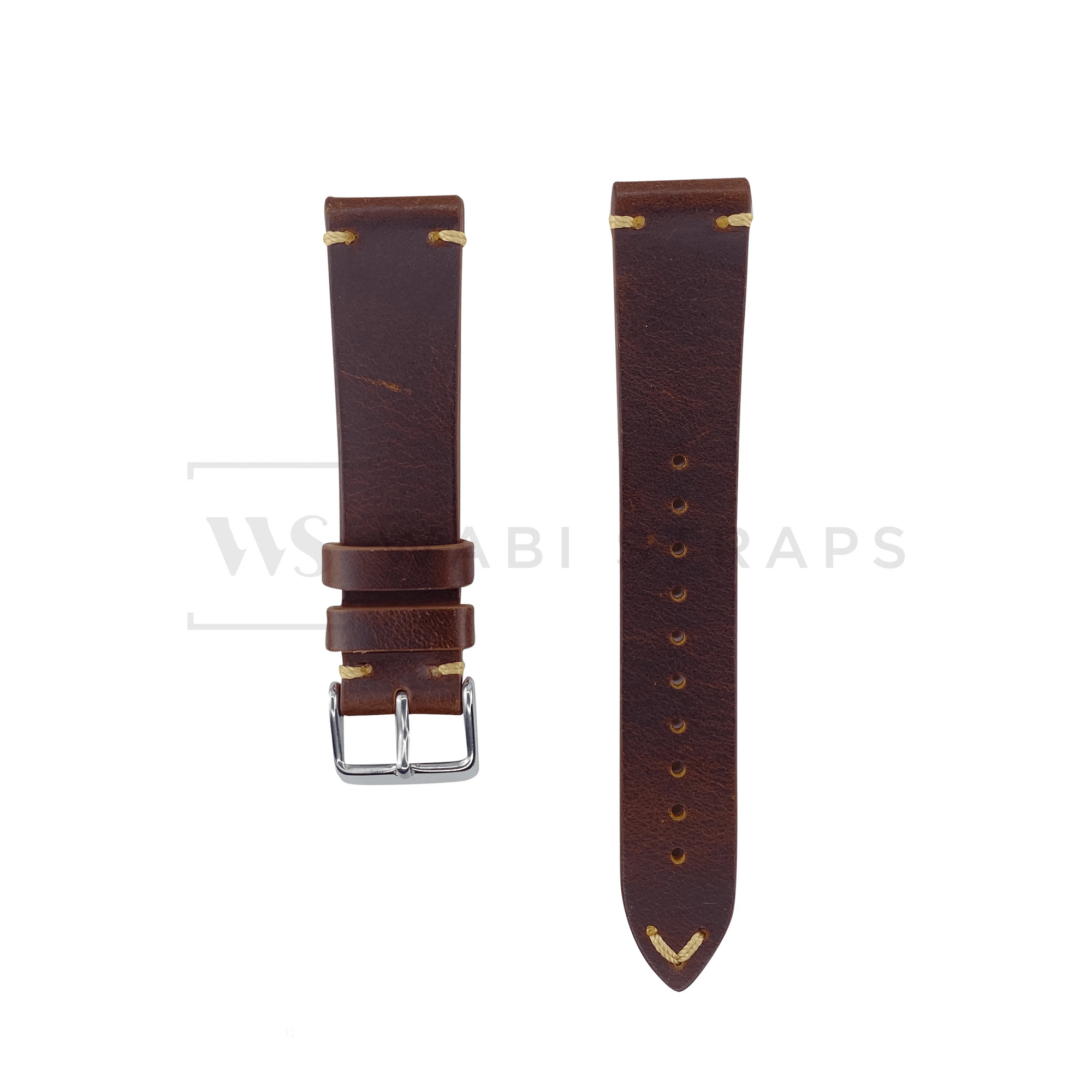 Brown Two Stitch Smooth Leather Strap Front
