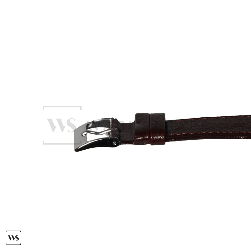 Burgundy Soft Leather Watch Strap Front