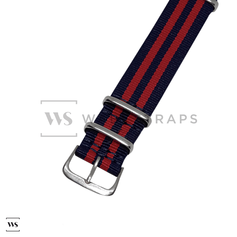 Dark Blue & Red Ballistic NATO Strap Round