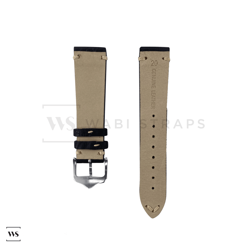 Dark Brown Cracked Leather Watch Strap Front