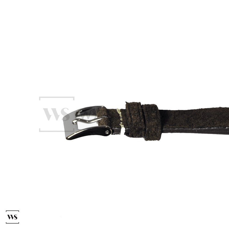Dark Brown Velvet Watch Strap Front