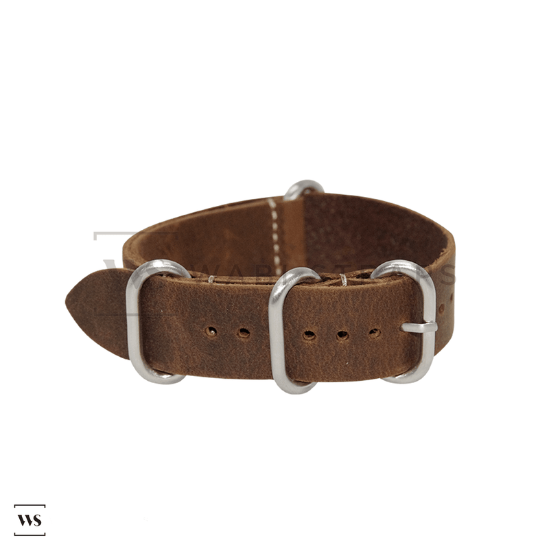 Dark Brown Vintage Leather ZULU Strap Folded