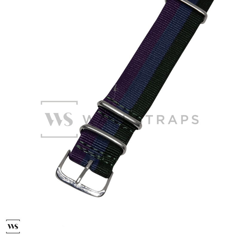 Dark Green, Blue & Purple Classic NATO Strap Round