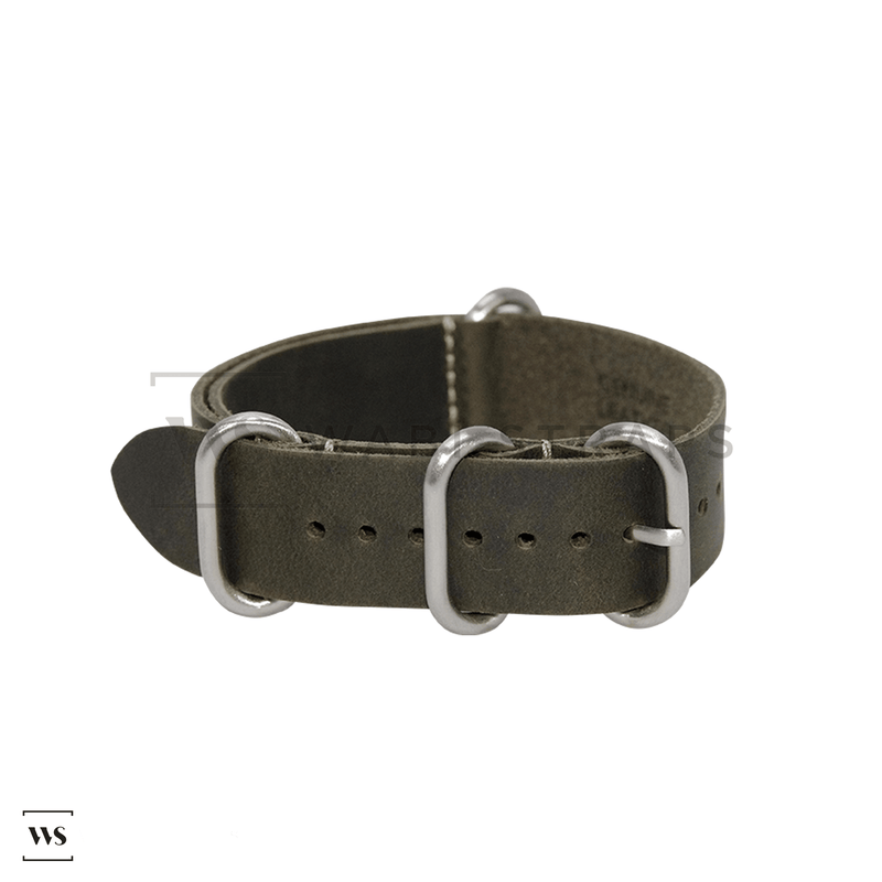 Dark Green Vintage Leather ZULU Strap Folded