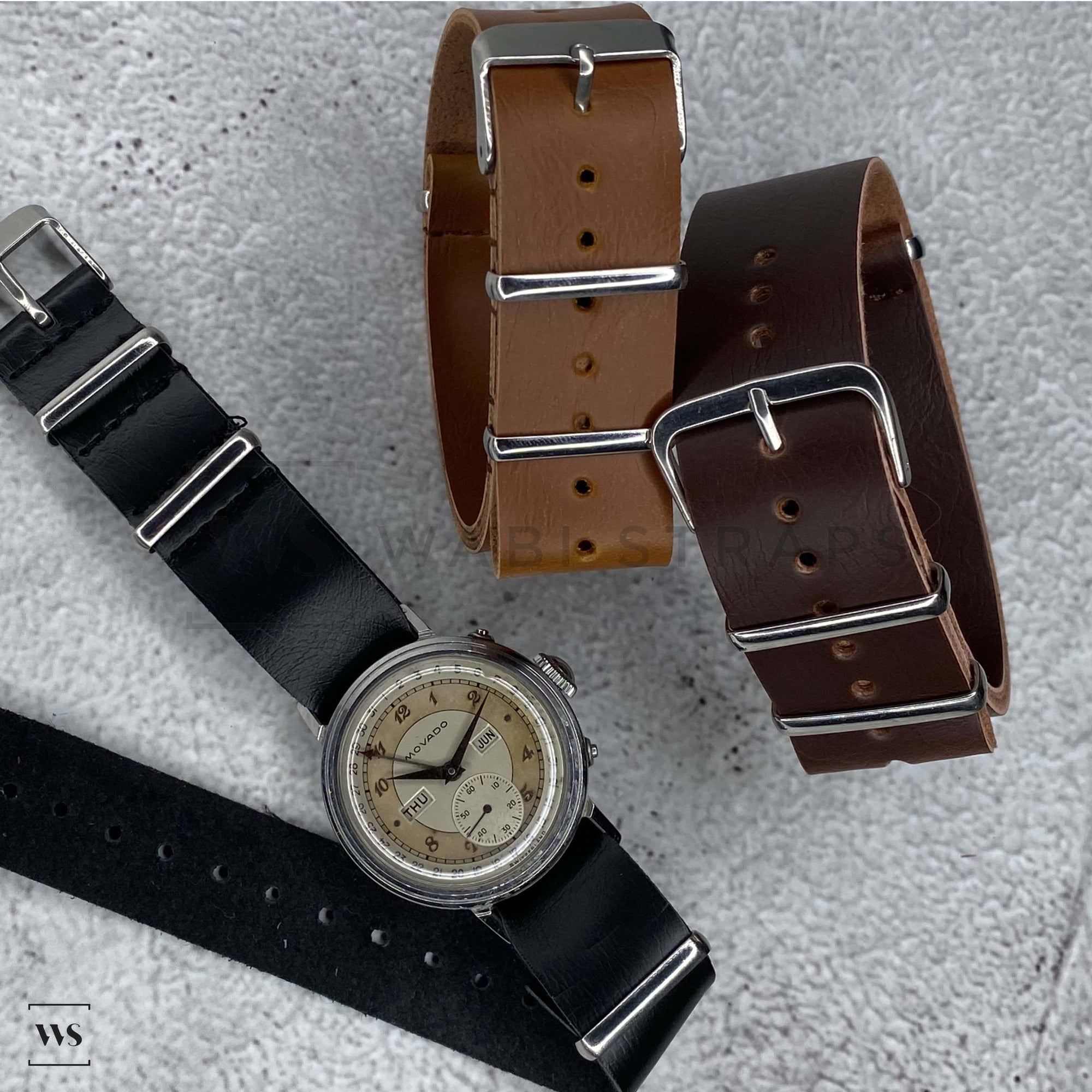 Faux PU Leather NATO Strap