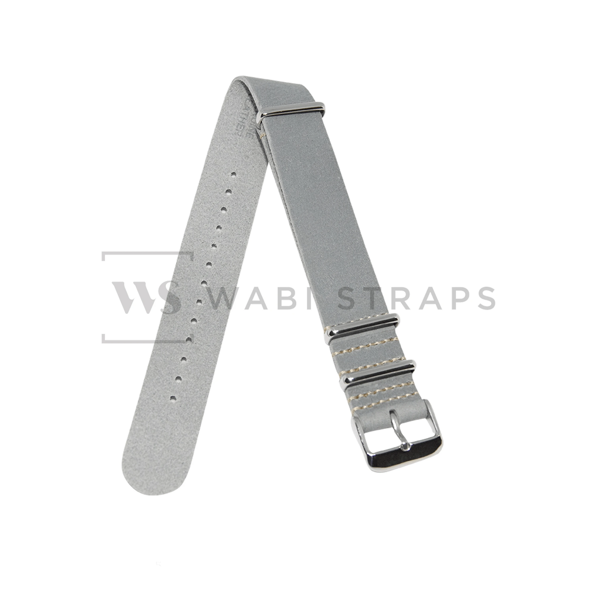 Grey Crazy Horse Leather NATO Strap Folded