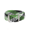 Green, Black & White Braided Perlon Strap Round