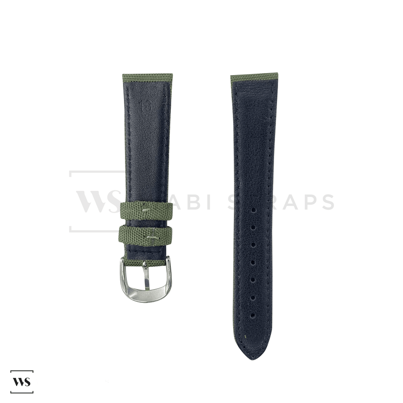Green Canvas Leather Watch Strap Front