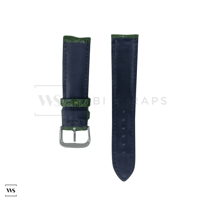 Green Crocodile Artisan Leather Strap Front