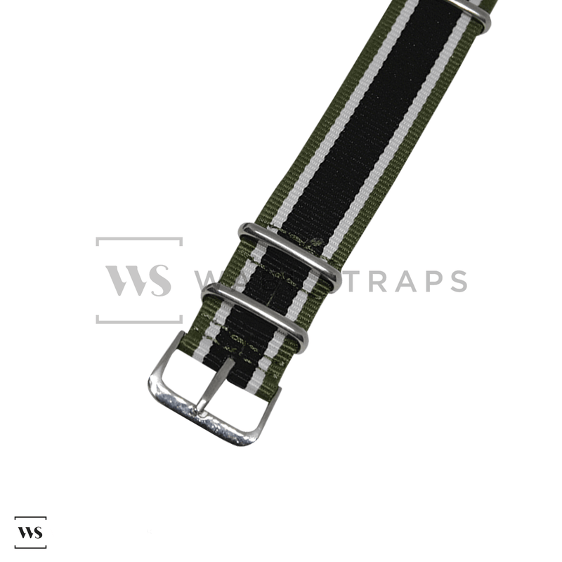 Green, White & Black Retro NATO Strap Round