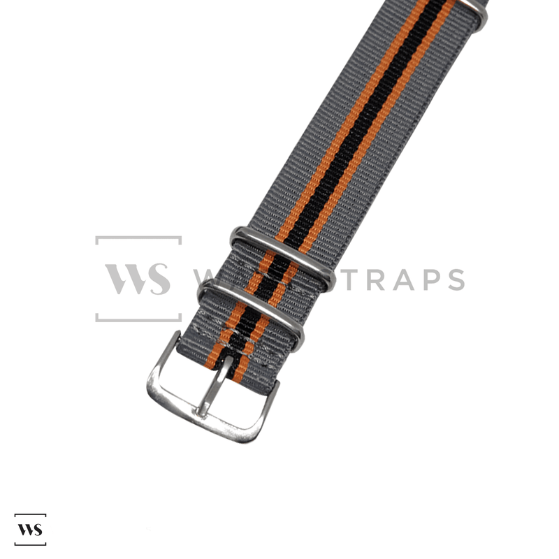 Grey, Orange & Black Regimental NATO Strap Round
