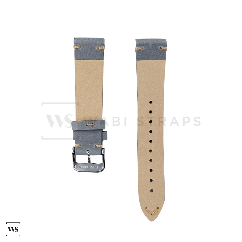 Grey Two Stitch Smooth Leather Strap