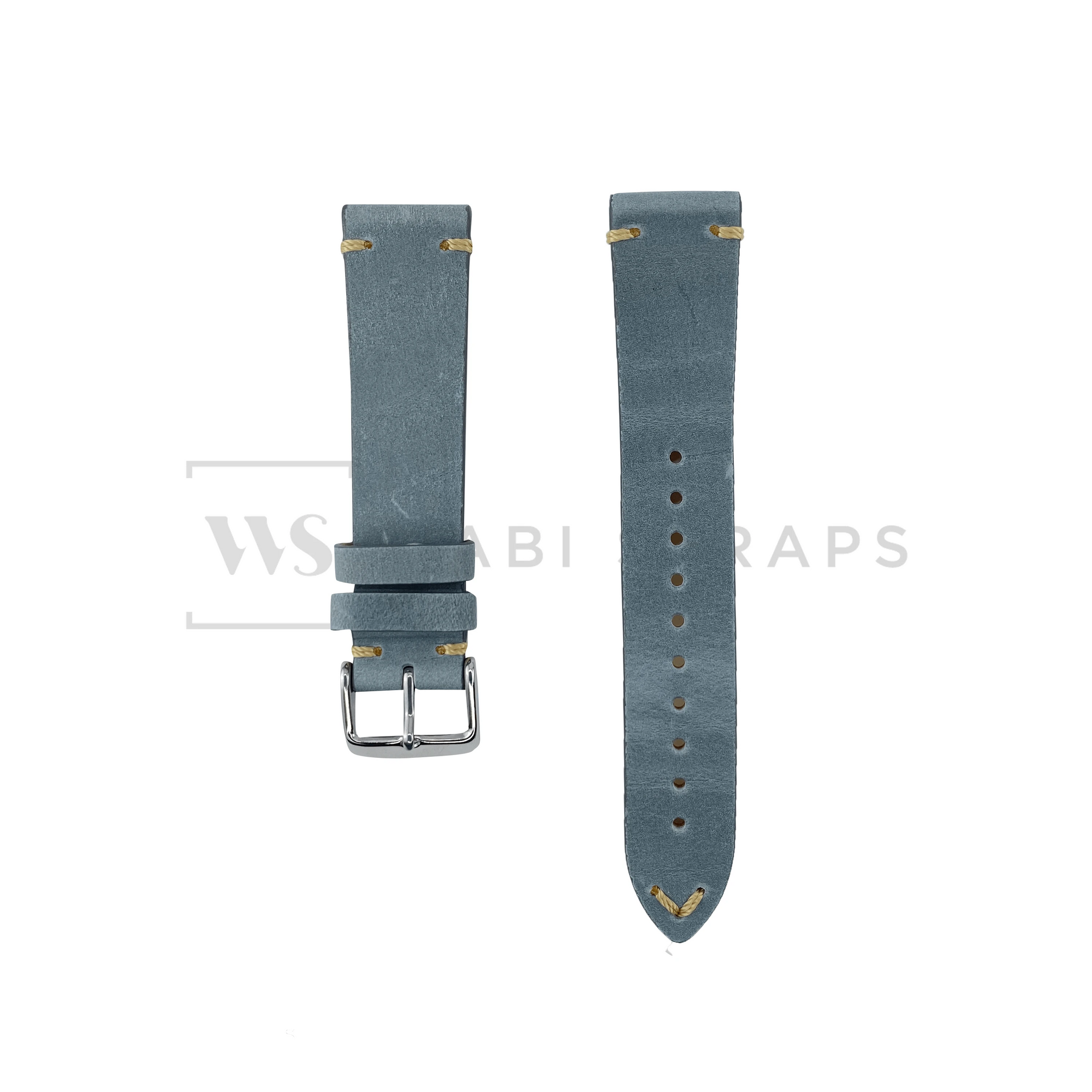 Grey Two Stitch Smooth Leather Strap Front