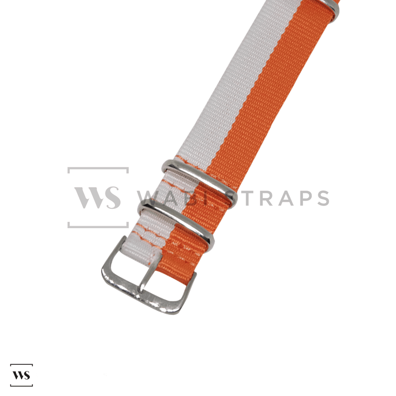 Hello Orange & White Unique NATO Strap Round