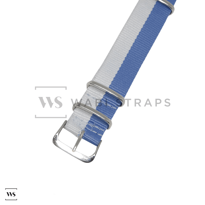 Hello Sky Blue & White Unique NATO Strap Round