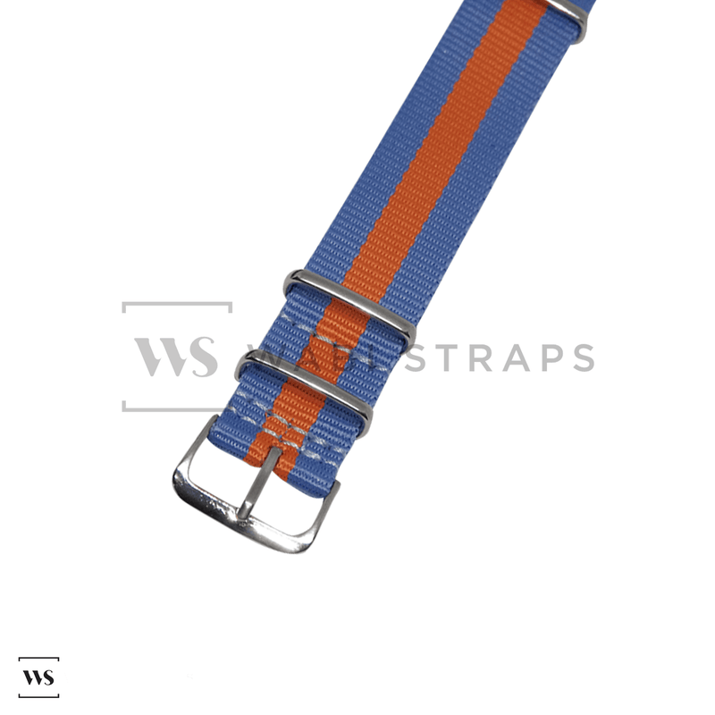 Light Blue & Orange Classic NATO Strap Round