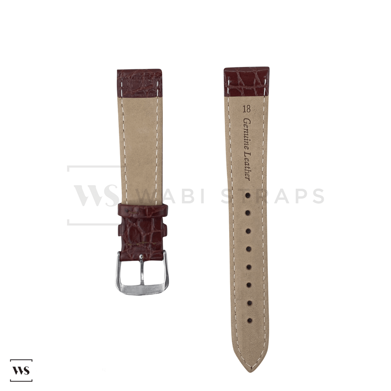 Maroon Tapered Dress Watch Strap Front