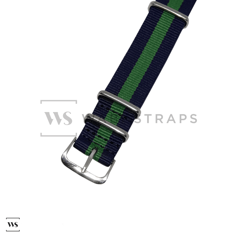 Navy Blue & Green Classic NATO Strap Round