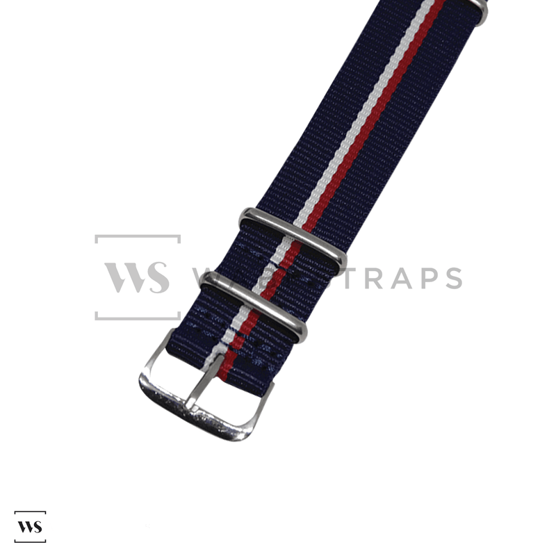 Navy Blue & Red/White Diver NATO Strap Round